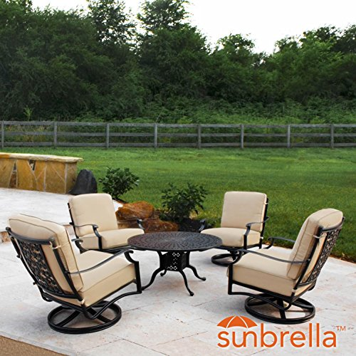 Lakeview Outdoor Designs Carondelet 5 Piece Cast Aluminum Patio Conversation Set W/Swivel Rocker Club Chairs & Sunbrella Spectrum Sand Cushions By Aluminum 5 Piece Club Chair