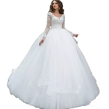 Auxico Perlen Brautkleider Scoop Long Sleeve Tüll Kleider 3D Blumen ...