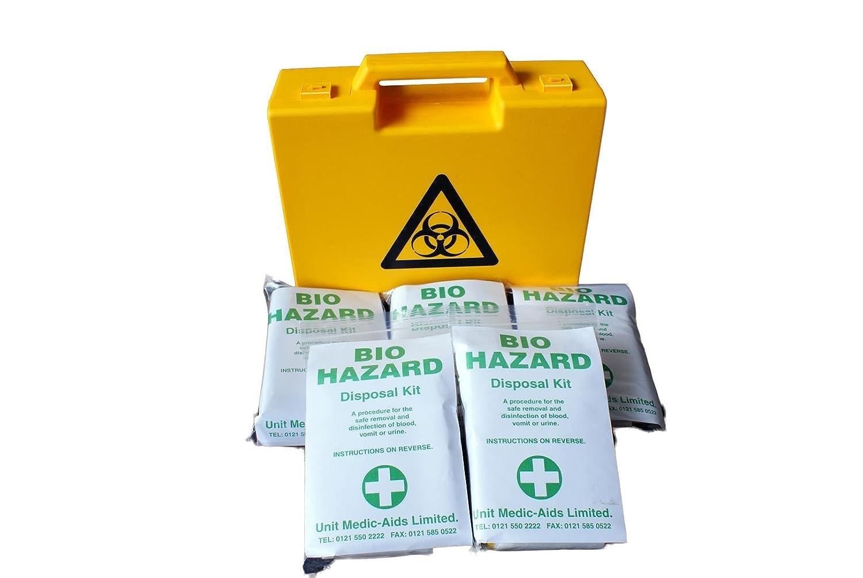 Unit-Medic Aids Ltd Bio-Hazard Disposal Kit in Yellow Box (5 Applications)