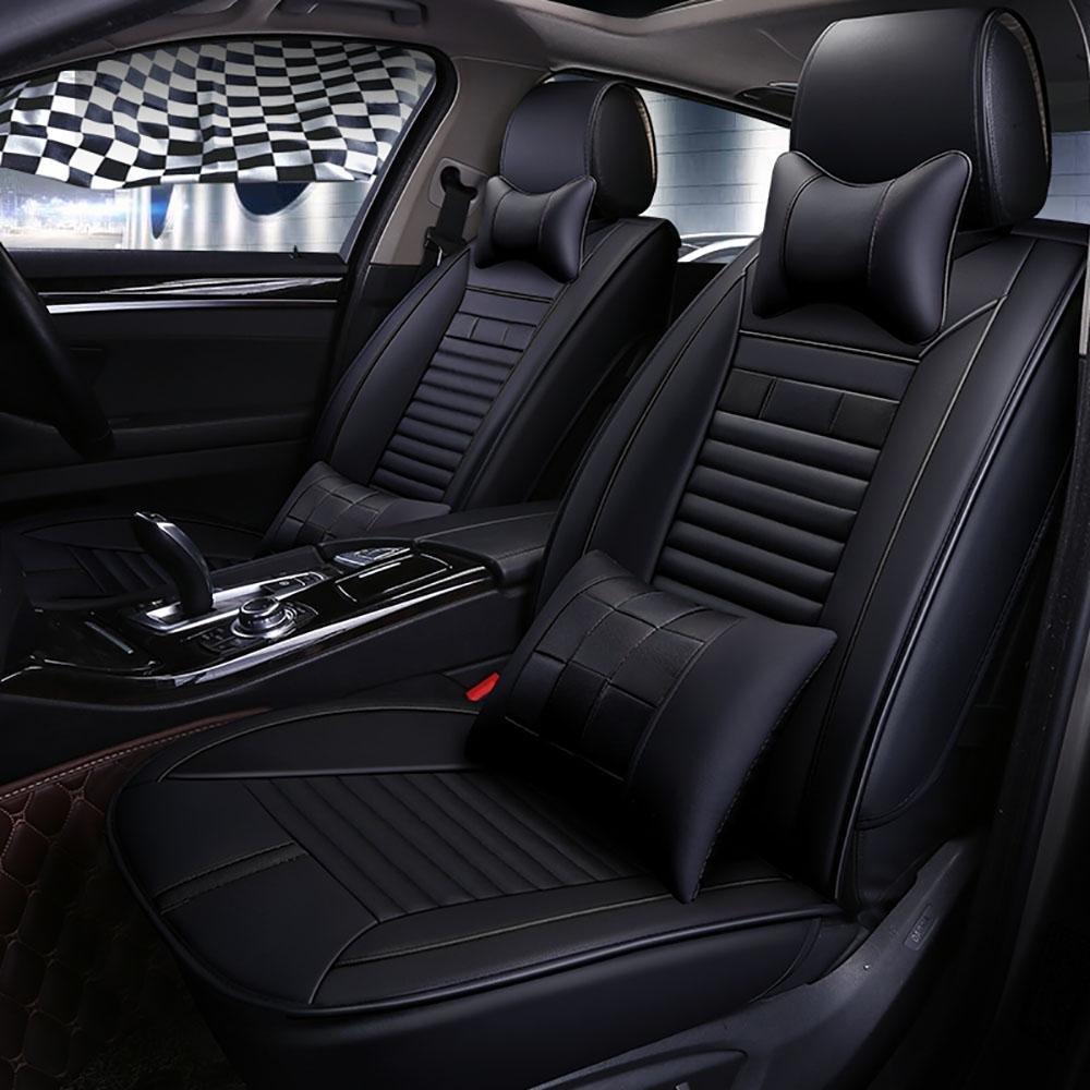 CAR 5 Seats Universal Car Seat Cover PVC Material Vehicle Seat Coler (9 pcs per kit) , black