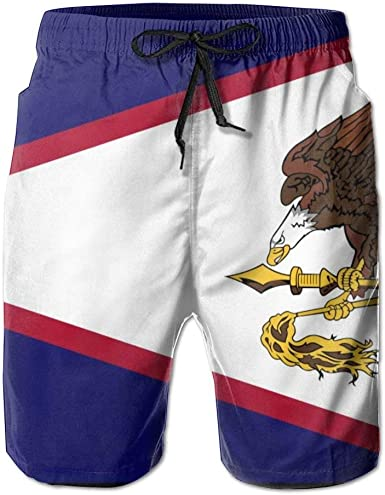 RROOT - Bañador para Hombre, diseño de la Bandera de Samoa Americana para Hombre, de Secado rápido, Pantalones Cortos de Playa con Bolsillo: Amazon.es: Ropa y accesorios