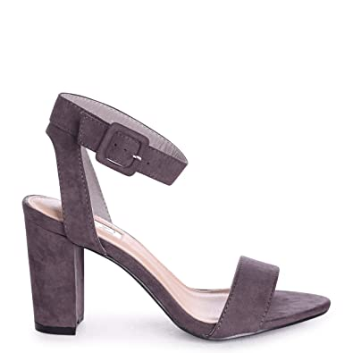92a5679e1d8 Linzi Millie - Grey Suede Open Toe Block Heel With Ankle Strap and Buckle  Detail  Amazon.co.uk  Shoes   Bags