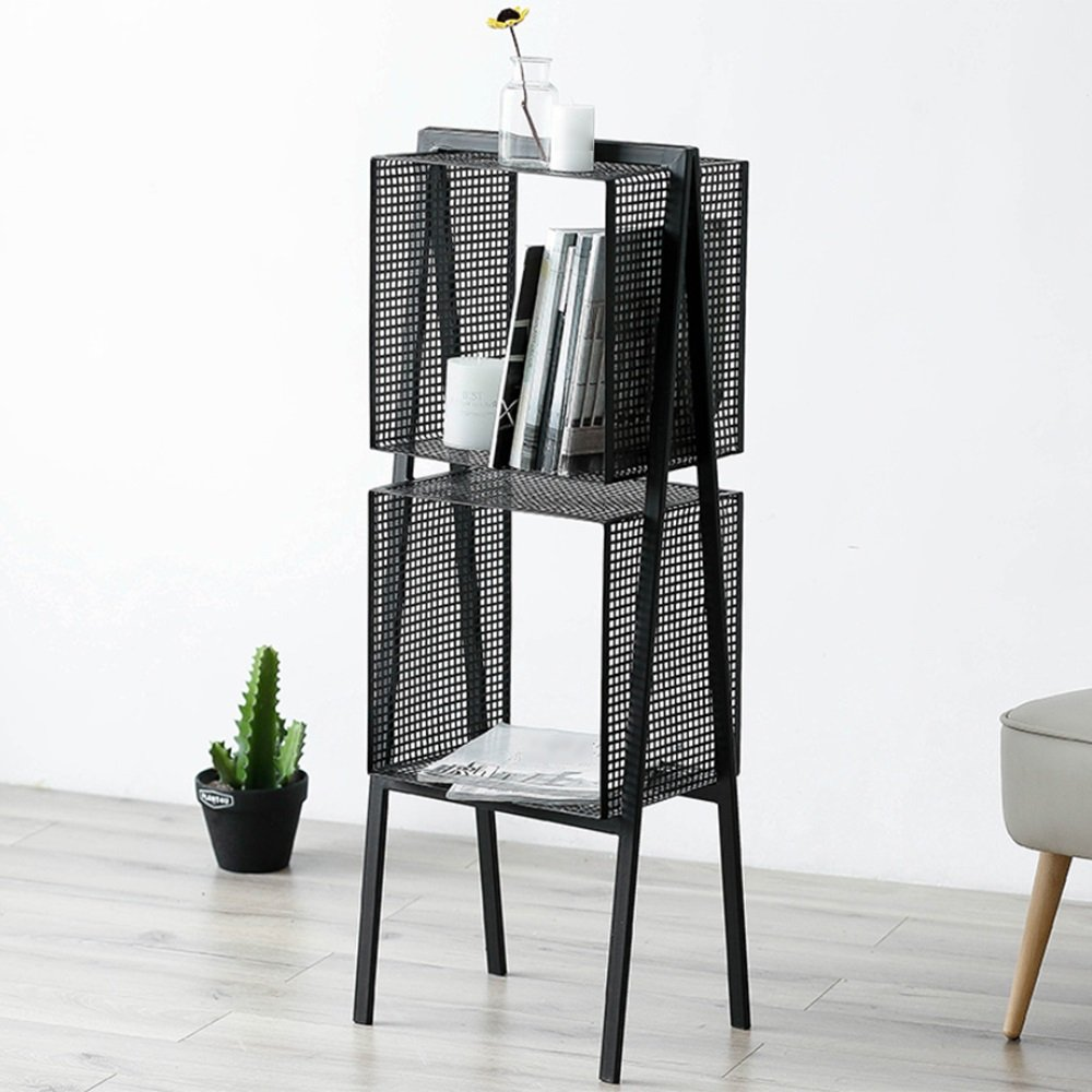 ZZHF yushizhiwujia Bastidores de almacenamiento Nordic Iron Art Estantes de almacenamiento de metal Living Room Black Bookcase Kitchen Bathroom Rack de ...
