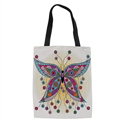 c1e74765dbb9 IPrint Butterfly,Ethnic Moth Figure with Fantasy Spring Floral Blooms on  Sunny Backdrop Image,