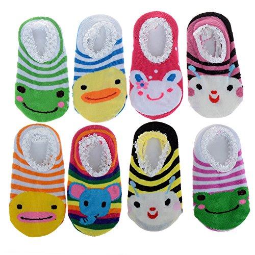 Cren 5 Pairs Baby Girls Toddler Anti Slip Skid Socks For 0-12 Months, Length 3.54-5.9