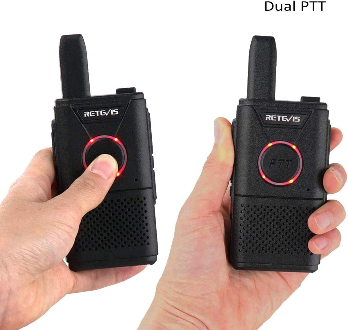 Retevis RT18 Walkie Talkies for Adults Rechargeable,Dual PTT Two Way Radio,Metal Back Clip,with 5-Port USB Charger 5 Pack