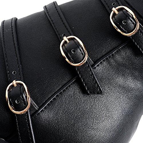 AIYOUMEI Damen Stretch Overknee Stiefel mit Schnalle und 7cm Absatz Elegant Modern Winter Langschaft Stifel Schwarz