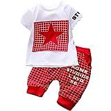 K-youth® Conjuntos Bebé Niño, Ropa Recién Nacidos Bebe Niño Camiseta Mangas Cortas Enrejado Estrellas Cartas Estampado Tops y Pantalones Verano Ropa Conjunto