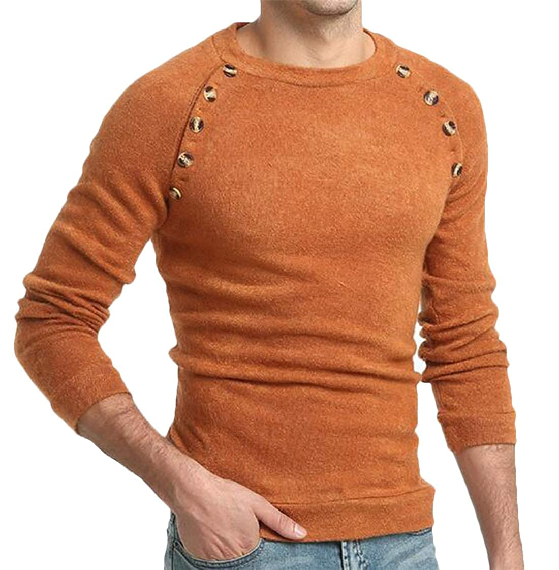 XiaoTianXinMen XTX Mens Casual Solid Long Sleeve Crew Neck Buttons Knit Pullover Sweater