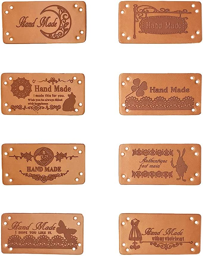 Jurxy 40 etiquetas de piel sintética hechas a mano con etiqueta en relieve con agujeros para adornar tejidos, accesorios para vaqueros, bolsos, zapatos, sombrero, 2 x 4 cm