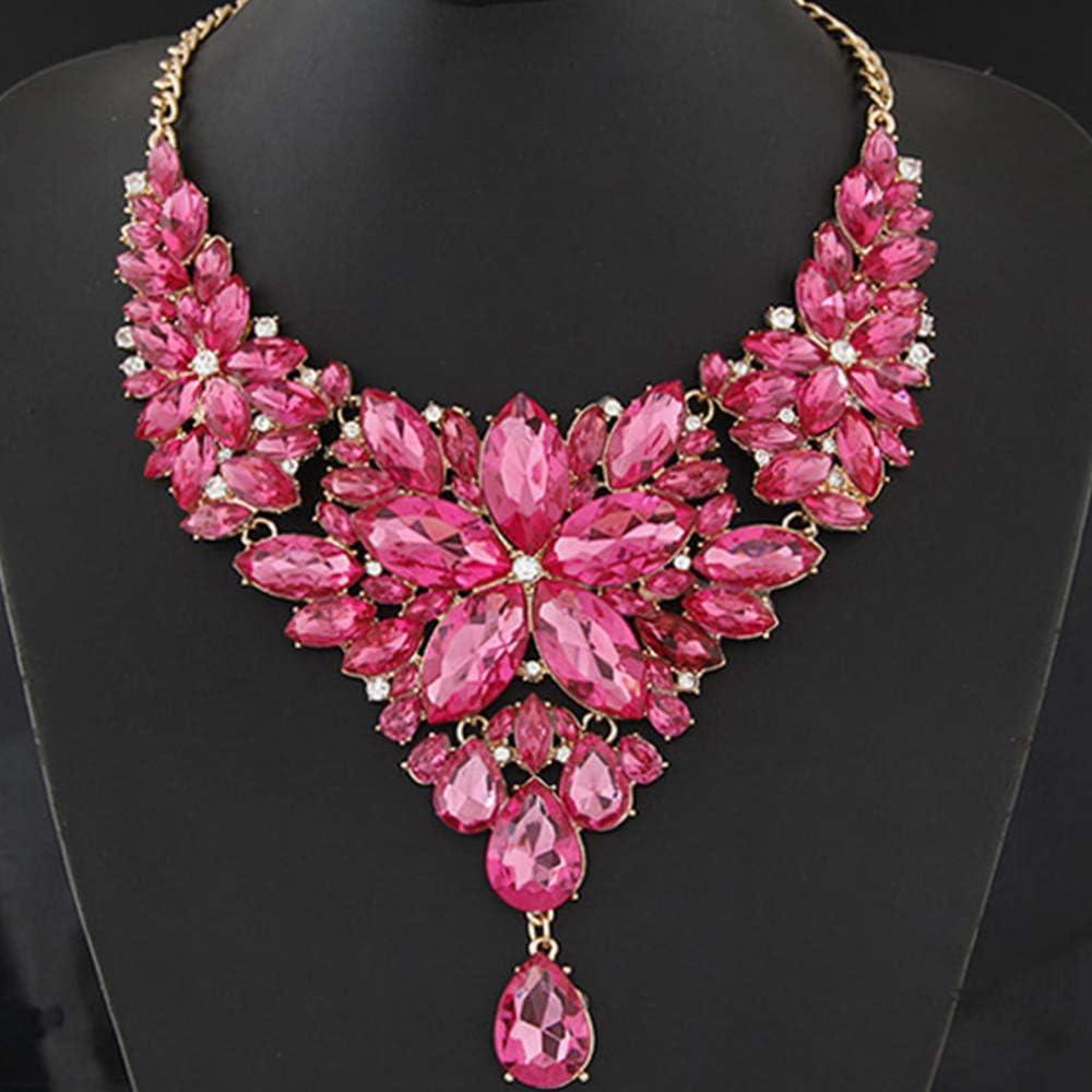 WAN Collar de Piedras Preciosas para Mujeres, Collar Babero, Collar de Temperamento metálico, Esmalte, Lujo, Brillo, Moda, Collar de Personalidad,Pink