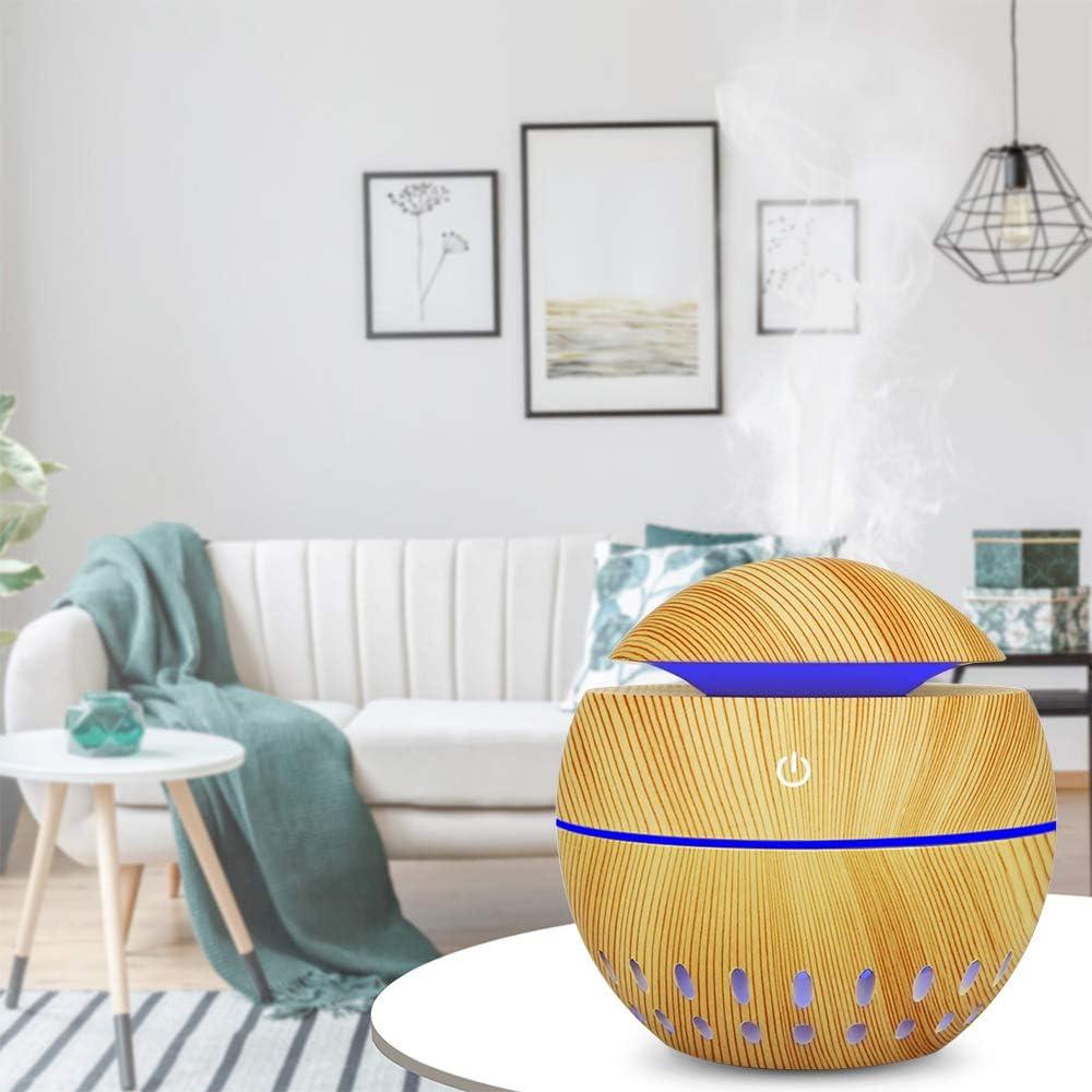 Leepesx Humidificador de aire USB Aroma Difusor de aceite Cool Mist Maker Cambio de color Madera LED Luz nocturna Aromaterapia dom/éstica para oficina en casa