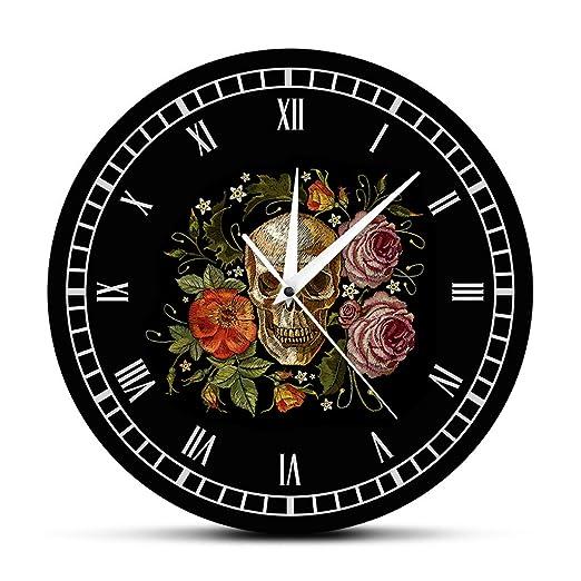 YJSMXYD Reloj De Pared Cráneo Tatuado Rosas Reloj De Pared Muerte ...