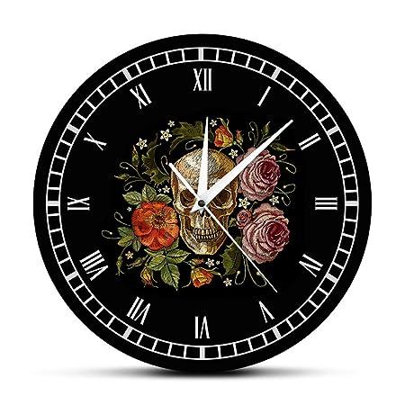 YJSMXYD Relojes De Pared,Reloj De Pared Tatuaje Calavera Rosas ...