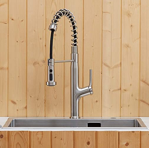 KINFAUCETS Modern Commercial Stainless Steel Single Lever Handle Pull Down Sprayer Brushed Nickel Kitchen Faucet, Kitchen Sink Faucet Brushed Nickel