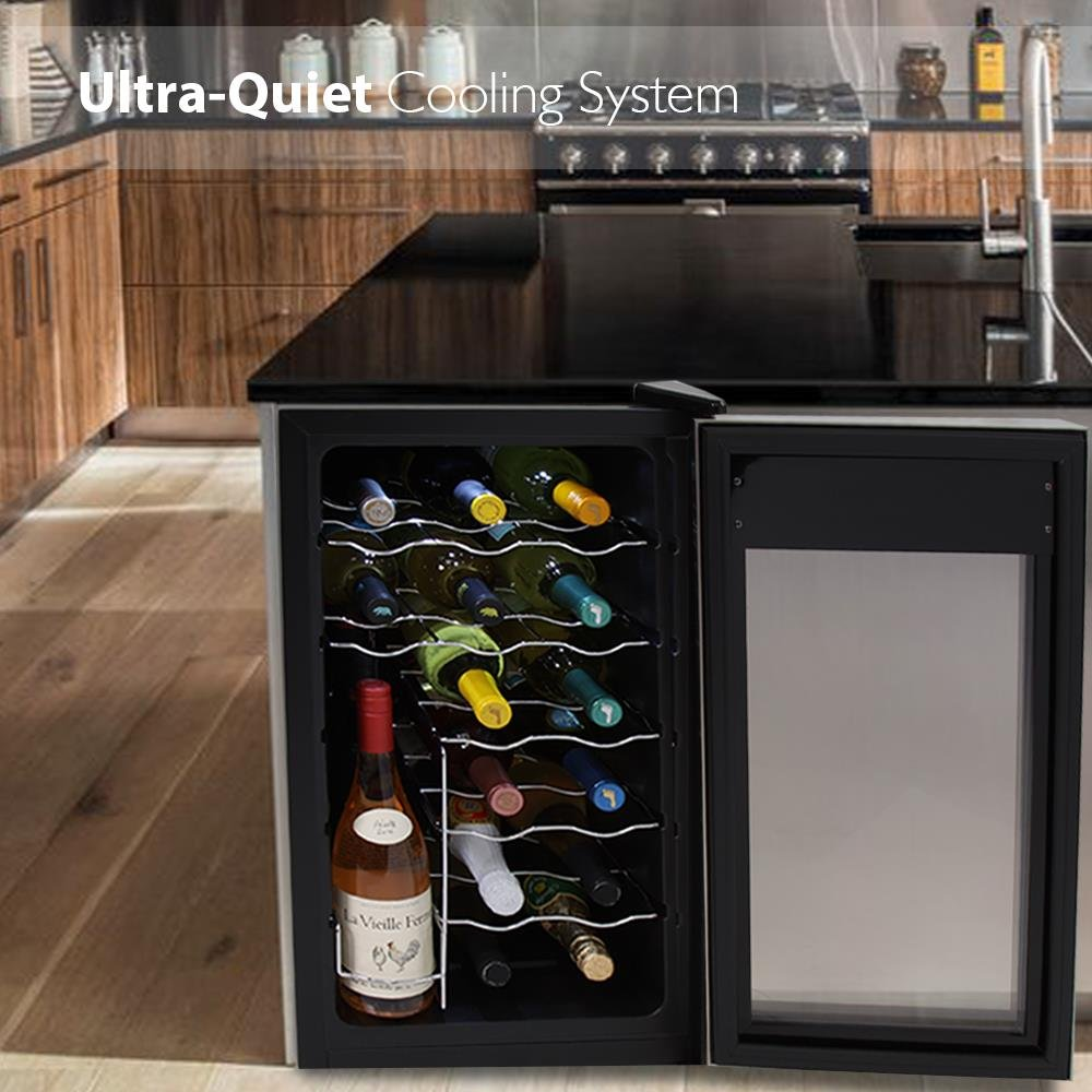 NutriChef 18 Bottle Thermoelectric Wine Cooler / Chiller | Counter Top Red And White Wine Cellar | FreeStanding Refrigerator, Quiet Operation Fridge | Stainless Steel by NutriChef (Image #5)