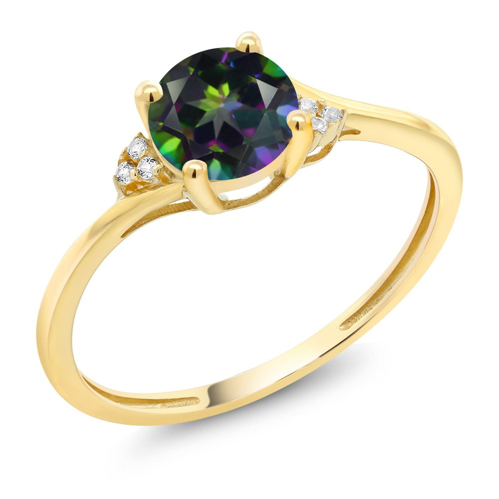 10K Yellow Gold Diamond Accent Engagement Ring Set with 6mm 1.05 Ct Round Green Mystic Topaz (Size 9)