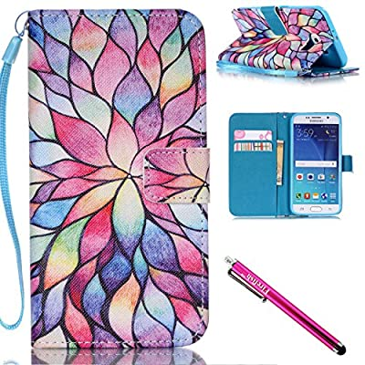 Galaxy S6 Case, Galaxy S6 Wallet Case, Firefish [Kickstand] [Shock Absorbent] Double Protective Case Flip Folio Slim Magnetic Cover with Wrist Strap for Samsung Galaxy S6 from Firefish