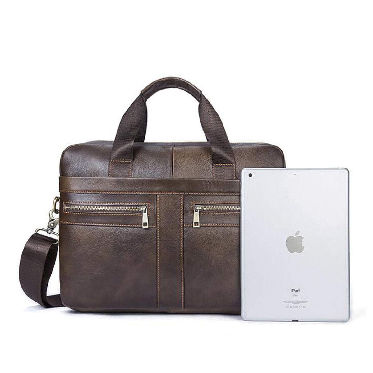 Kuqiqi Briefcase Size: 36727cm Mens Leather Handbag Color : Brown Short-Distance Travel Bag