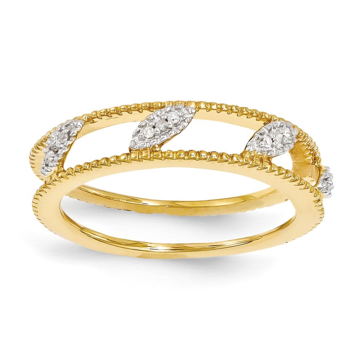 Bonyak Jewelry Sterling Silver Stackable Expressions Gold-Plated Diamond Jacket Ring - Size 10