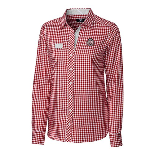 (Cutter & Buck NCAA Ohio State Buckeyes Womens Long Sleeve League Gingham Button Down Woven, Cardinal Red, X-Large)