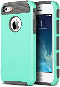 ULAK iPhone 5S Case, iPhone 5 Case, iPhone SE Case,Slim Fit Dual Layer Case Shock Absorbing Hard Rugged Ultra Protective Back Rubber Cover with Impact Protection (Mint+Gray)(Not fit iPhone SE 2020)