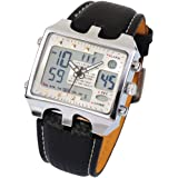 OHSEN Mens Digital Sport Quartz Leather Band Wrist WatchGift OHS034