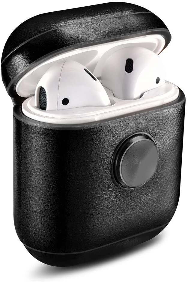 YXJC Airpods Case Fingertip Spinner Airpods Protective Cover for Apple Airpods pro Retro Leather Airpods Case Cover Color : Black