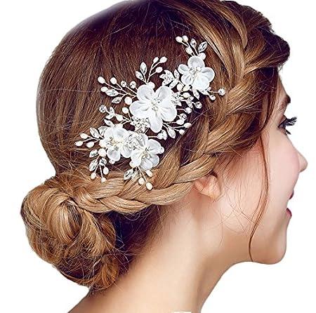 Miya® 1Stück MEGA Glamour Braut Kamm Steckkamm Haarkamm mit vier wunderschöne Blumen aus sanft Tüll Perle und Kristallen, Bra