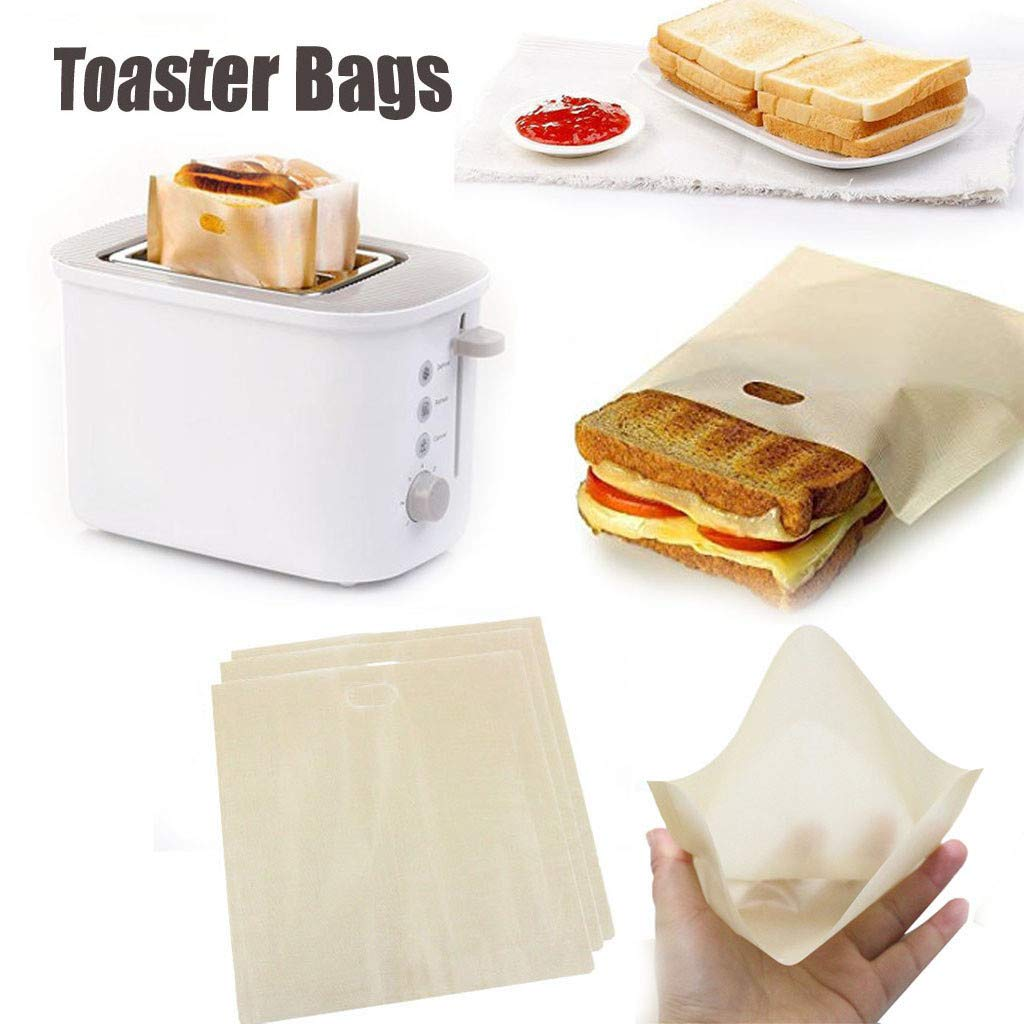 Toaster Bags Reusable Non-Stick Heat Resistant Baking Pocket Sandwich Pouch for Grilled Cheese Sandwiches Chicken Nuggets Panini Garlic Toasts (4pcs)