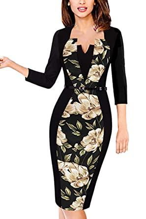 e13d43eb0fe MisShow Women s 3 4 Sleeve Wear to Work Bodycon Pencil Sheath Dresses  Floral S