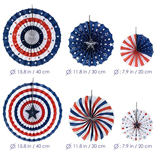 Pbpbox 4th Of July Decorations Paper Fan For Patriotic Import It All