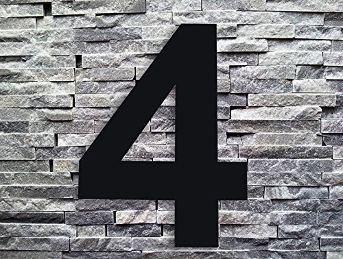 QT Modern House Number Black - 6 inch - Stainless Steel (Number 4 Four), Floating Appearance, Easy to Install and Made of Solid 304 Stainless Steel