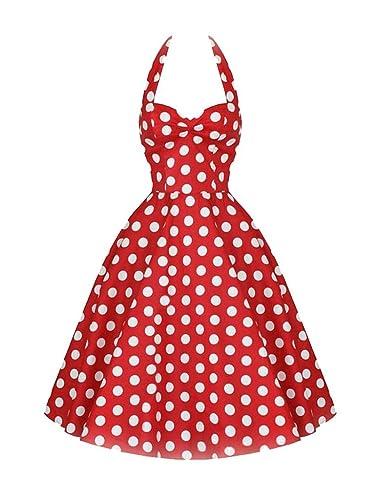 Women's 50s Rockabilly Dress Polka Dot Halter Retro Cocktail Dress Swing Dress