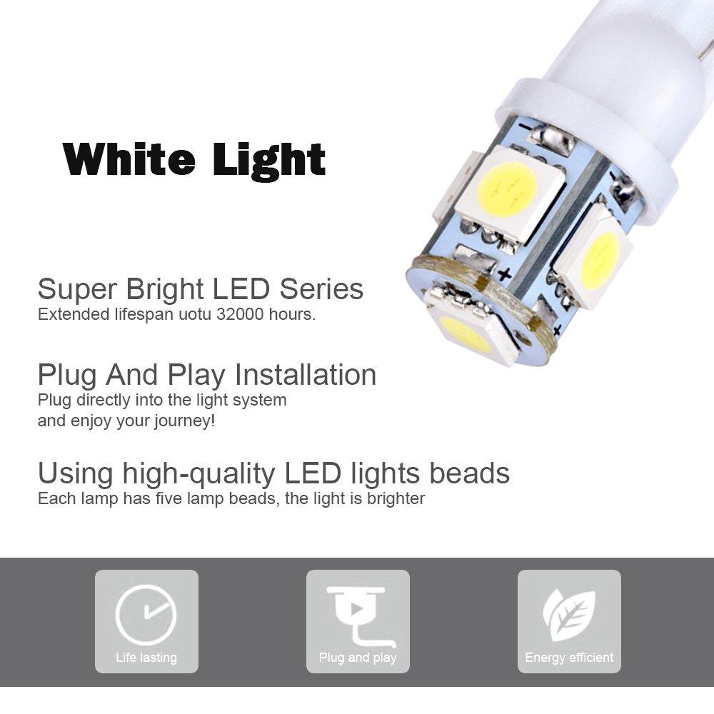 Smautop 20Packs RV Trailer T10 921 194 912 168 920 42-SMD 12V Backup Reverse LED White Bulb Lights-1 Yrs Warranty T10 42SMD RV Trailer Light