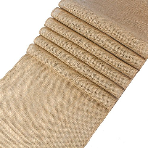 mds Pack of 12 Wedding 12 x 108 inch Burlap Table Runner Natural Jute Country Vintage for Wedding Banquet Decoration - Natural Jute Burlap ()