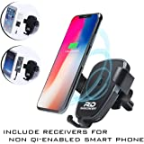 Wireless Car Charger, QI Wireless Charger Car Mount Gravity Phone Holder for car w/ charging receiver for iphone 5 6 7  Compatible w/ Samsung Galaxy S9/S9 Plus S8 S7/S7 Edge Note 8 5 iPhone X 8/8 Plus