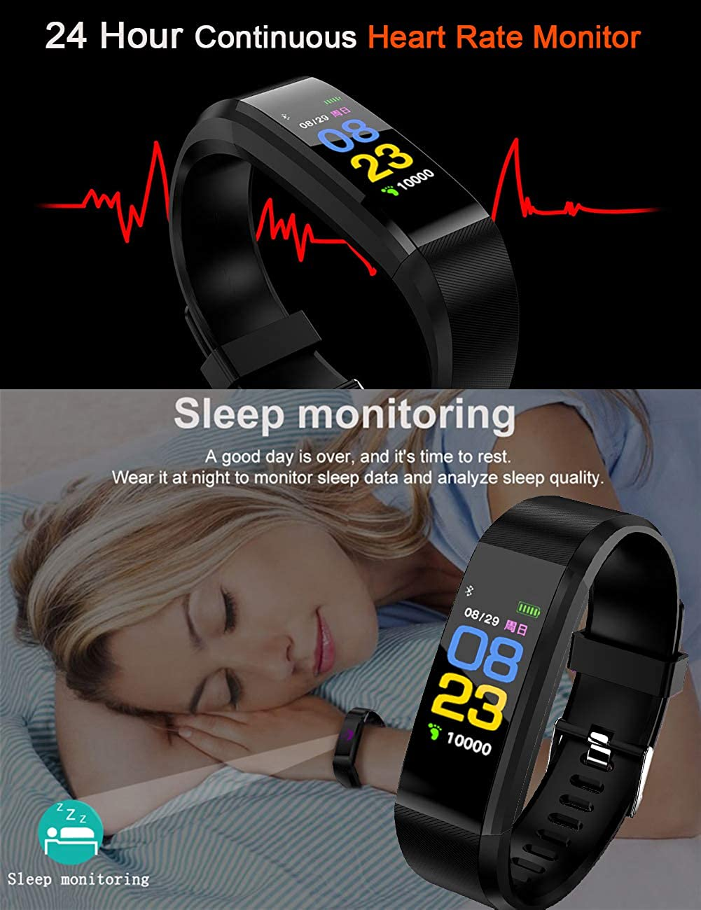 ... Tracker Watch with Heart Rate Monitor, Waterproof Smart Bracelet with Step Counter, Calorie Counter, Pedometer Watch for Kids Women and Men: Watches