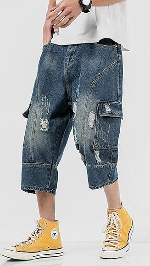 Domple Mens Cropped Pants Multi Pockets Plus Size Ripped Destroyed Cargo Denim Shorts Jeans