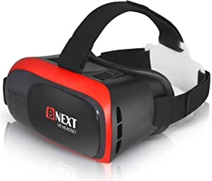 BNEXT VR Headset Compatible with iPhone & Android Phone - Universal Virtual Reality Goggles - Play Your Best Mobile Games 360 Movies with Soft & Comfortable New 3D VR Glasses | Red | w/Eye Protection