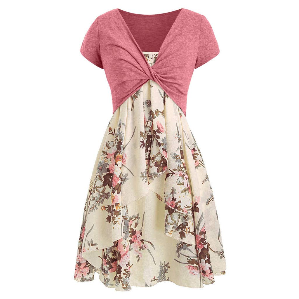 Giulot Dress for Women Casual Summer Short Sleeve Bow Knot Cover Up Floral Print Strappy Midi Dress Pleated Sundress