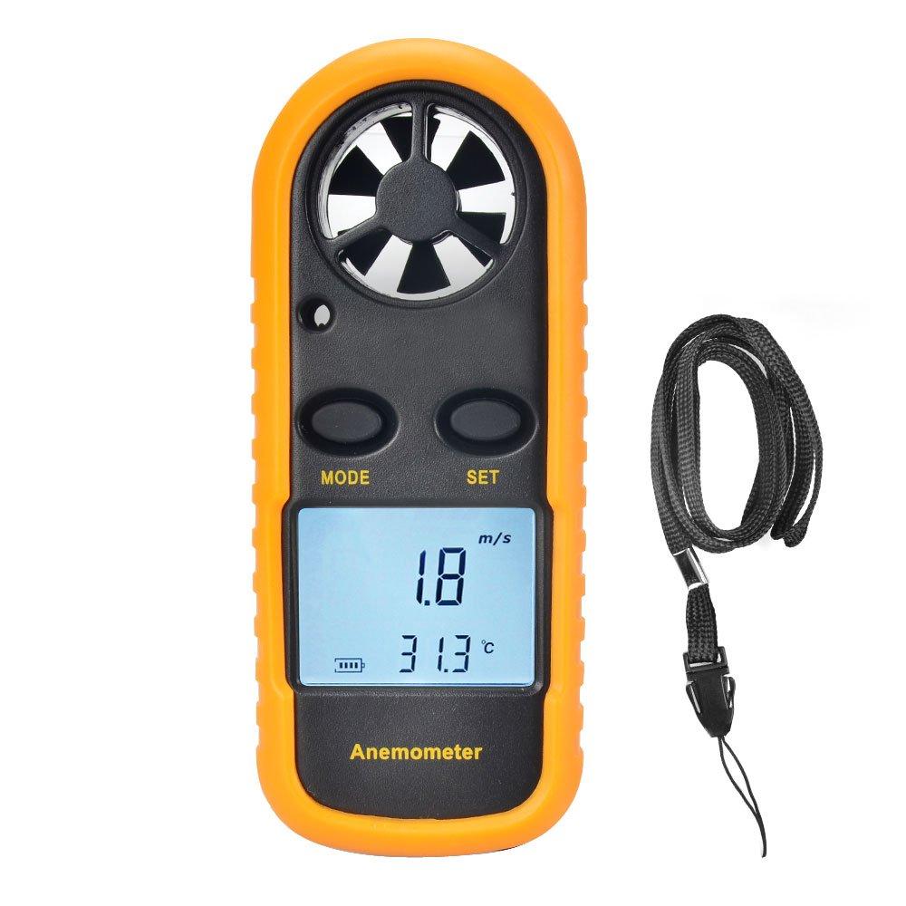 OTraki Anemómetro Termómetro Digital, Medidor de Velocidad de Aire Portátil con Pantalla LCD GM816 Aneómetro Dirección de Viento para Actividad Marina, Industria al Aire Libre