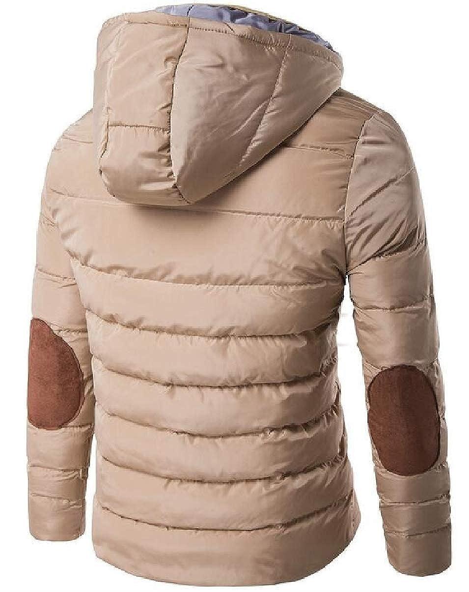 ZXFHZS Mens Thicken Hoodie Coat Winter Solid Packable Puffer Down Jacket