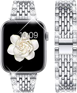 Goton Bling Band Compatible for Apple Watch Band 42mm 44mm , Women Men Dressy Bling Diamond Shiny Stainless Metal Replacement Strap for iWatch Band Series 5 4 3 2 1 ( Silver,44mm 42mm)