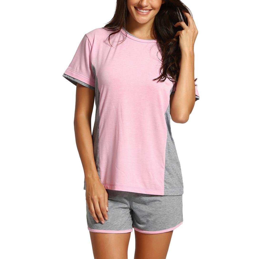 kingfansion Women's Suit Short-Sleeved Stitching T-Shirt Shirt Casual Jacket + Shorts Sports Yoga Running Casual Suit (S)
