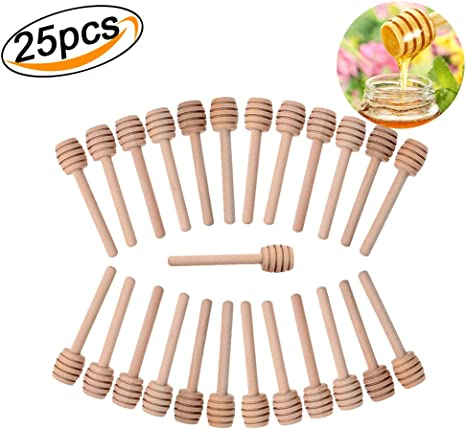 50Pcs Wooden Honey Dipper Sticks Stirring Stick Server for Honey Jar Dispense Drizzle Honey 10.5cm // 4.1inch