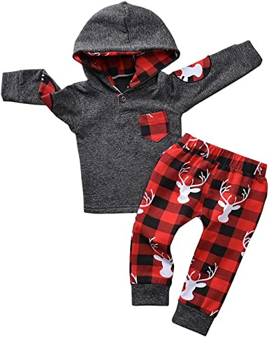 Infant Baby Boy Hoodie Plaid Long Sleeve Hooded Tops Sweatsuit Pants Outfits