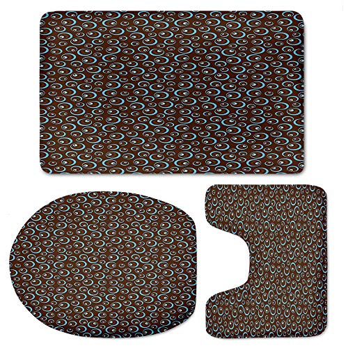 YOLIYANA Brown and Blue 3 Piece Shaggy Solid Bathroom Set Includes Contour Rug, Toilet Lid Cover, and Non-Slip Shaggy -