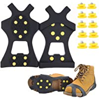 Ice Cleats - Snow Grips Crampons Anti-Slip Traction Cleats Ice & Snow Grippers for Shoes and Boots - 10 Steel Studs Slip-on Stretch Footwear for Women Men Kids (Extra 10 Studs)