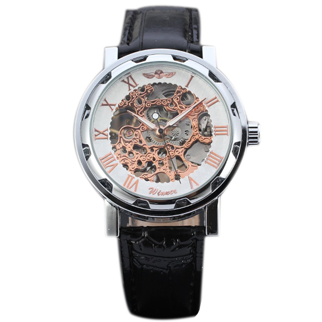 joyliveCY Pu Leather Band Automatic Mechanical Skeleton Watch For Men Fashion Gear Wrist Watch Reloj Army Hombre Horloge White&Gold